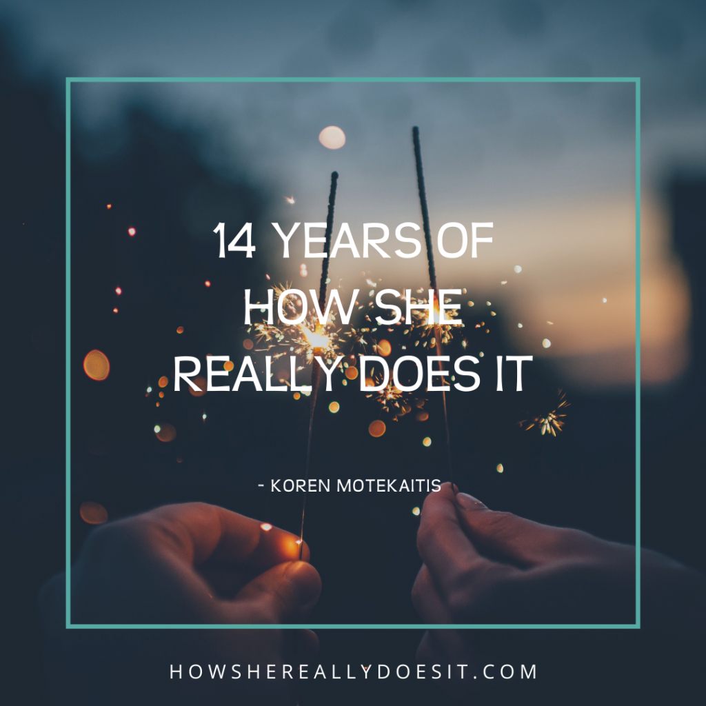 """Two hands holding sparkler style firecrackers with the words """"14 years of how she really does it"""" overlaid"""